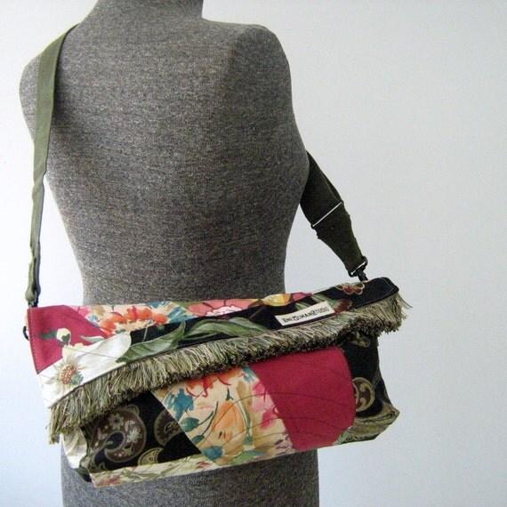 Repurposed Fabric Cross Body Purse, Handbag, Zipper Purse
