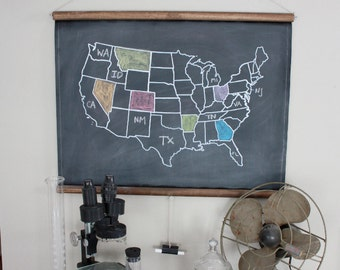 Chalkboard United States Map - SMALL SIZE / Travel Theme Nursery / Adventure Theme Nursery / Homeschooling Supplies / Long Distance Love