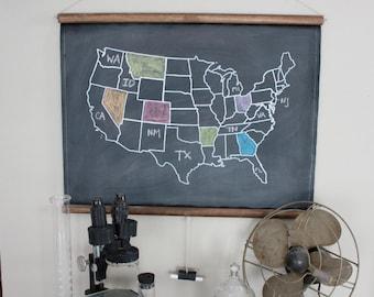Chalkboard United States Map - SMALL SIZE // USA // America // School Decor // Vintage Style Decor // Homeschool // Wall Hanging // Travel