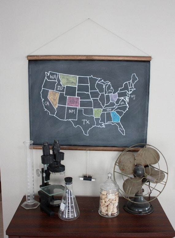 Chalkboard United States Map - SMALL SIZE // USA // America // School Decor // Vintage Style Decor // Homeschool // Wall Hanging // Travel