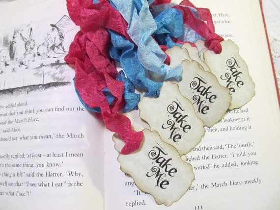 Take Me Party Favor Tags with ribbons - Double Sided Customized Available - Alice in Wonderland Party Shower - Set of 18 - Choose Ribbons