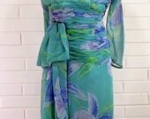 Vintage 60's/70's  Cocktail Dress, Size 4, Lillie Rubin, Ruched Torso, Chiffon, Small, Extra Small, Amazing
