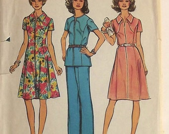 Vintage 70s Sewing Pattern, Dress, Top or Pants, Size 16 1/2, Look Slimmer