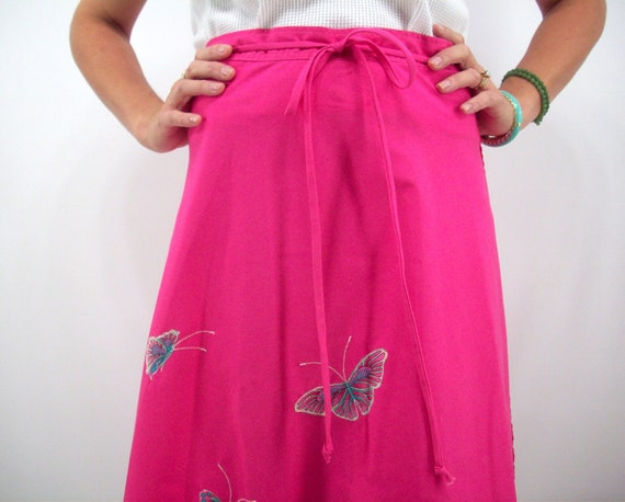 Vintage 70's Wrap Skirt, Size Medium, Deep Pink with Butterfly Embellishments