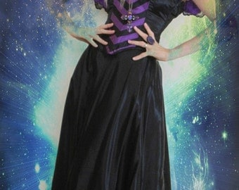 Vintage 80s Gothic Steampunk Witch Ritual Haunting Black Victorian Corset Black Purple Satin Lace Dress Skirt Theater Dress