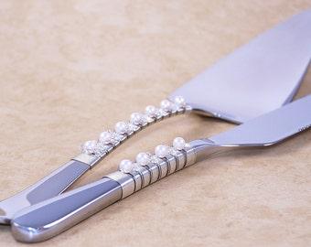 Wedding cake server and knife serving set beaded cake cutting set Swarovski crystal and pearl wedding decor choose your colors custom made