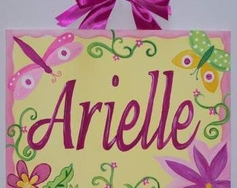 Dragonfly, canvas name sign, Personalized, Hand Painted, Girls dragonfly art, Girls butterfly art, hot pink, yellow, dragonfly nursery