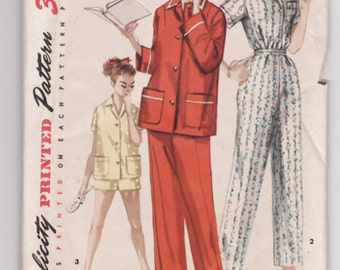 Vintage Sewing Pattern Ladies 1950's Pajama Set Simplicity 1325 - Free Pattern Grading E-book Included