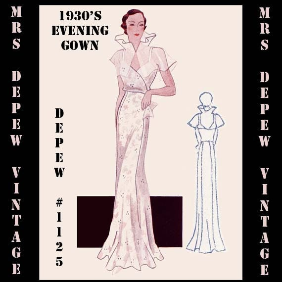 Vintage sewing pattern 1930 39 s evening or wedding gown by for Wedding dress patterns free download