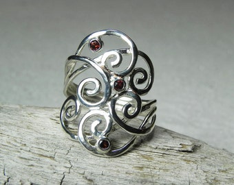 Garnet Swirly Wave Ring - Sterling Silver Garnet - Birthstone Ring - Mother's Ring - Artisan Unique Swirl Jewelry - Silver Spiral Jewelry