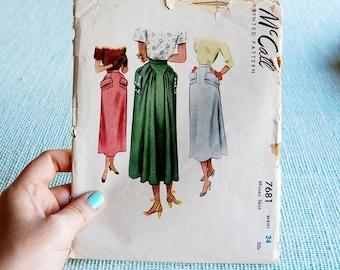 Vintage McCall 7681 skirt pattern with unique design 1949 RARE waist 24