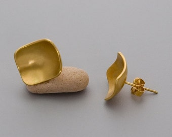Gold Square Stud Earrings, Gold Stud Earrings, Geometric Studs, Contemporary Earrings,  Minimal Stud Earrings, Delicate Studs, Matte Posts