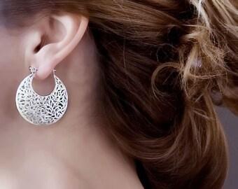 Large Sterling Silver Earrings, Filigree Earrings, Statement Earrings, Silver Lace Earrings, Moroccan Earrings,Victorian Earrings, Wife Gift