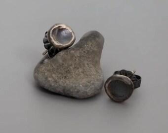 Oxidized Silver Studs Earrings, Bohemian Stud Earrings, Pebbles Earrings, Small Silver Earrings, Minimal Earrings, Black Silver Earrings