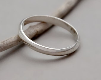 Sterling Silver Wedding Band, Simple Silver Wedding Band, Women Band Ring, Thin Silver Ring for Mens Band, Minimalist Ring, Delicate Band
