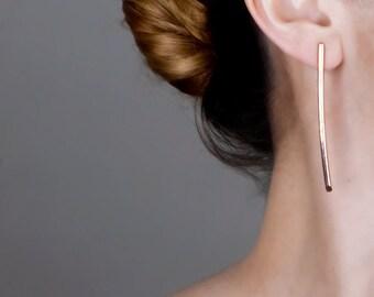 Rose Gold Long Earrings, Bar Earrings, Rose Gold Stud Earrings, Thin Long Earrings, Minimalist Earrings, Line Earrings, Extra Long Earrings
