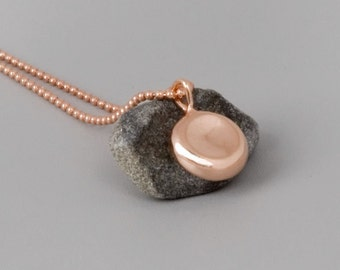 Rose Gold Disc Necklace, Small Pendant Necklace, Tiny Charm Necklace, Pebble Necklace, Rose Gold Necklace, Dainty Layered Necklace, Disk