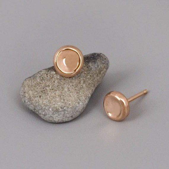 Solid Rose Gold Studs Earrings, 9K Rose Gold Post Earrings, Simple Stud Earrings, Delicate Stud Earrings, Pebbles Earrings, Minimal Earrings