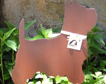 Rusty Finish Westie West Highland Terrier Dog Metal Garden Art Yard Stake