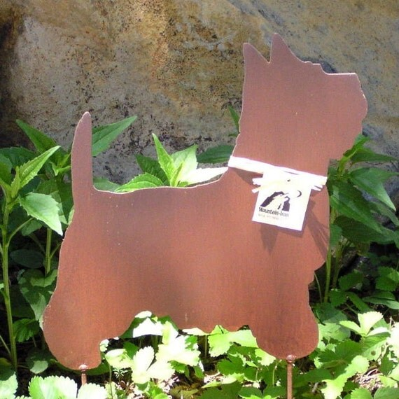 Rusty Finish Westie West Highland Terrier Dog Metal Garden Art Yard Stake