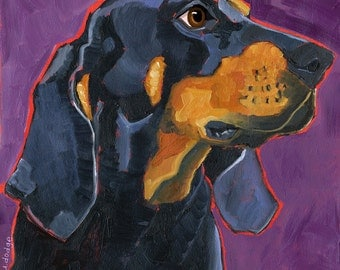 Coonhound No. 1 - magnets, coasters and art prints black and tan coonhound