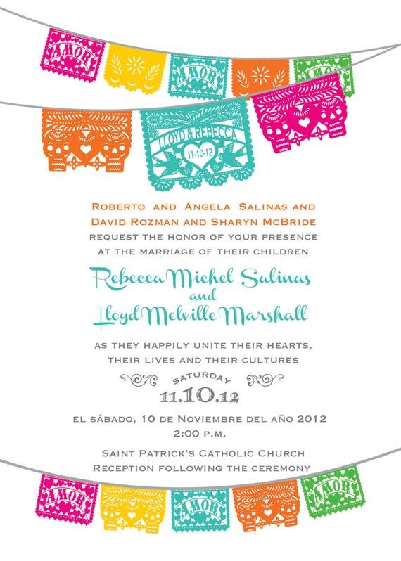 Day Of The Dead Skull Papel Picado Wedding Invitation I