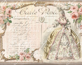 Marie Antoinette Card, Blank French Paris Card, Flea Market Chic, French Rococo Gift Card, Paris Greeting Card Blank French Pink Roses