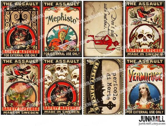 MEPHISTO - Digital Printable Collage Sheet - Vintage Halloween Matchbox Labels with Black Cats, Devils & Skulls, ATC, Instant Download