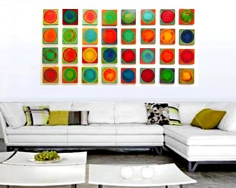 Abstract Wall Sculpture | Wood Wall Sculpture Modern Wall Art | Painted Wood Blocks | Living Room Decor | Rosemary Pierce Modern Art