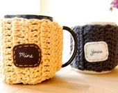 Mine Yours Customizable Coffee Mug Cozy Set Crocheted Tea Cup Cosy Anniversary Gift