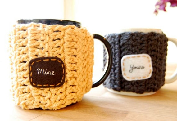 Mine Yours Customizable Coffee Mug Cozy Set Crocheted Tea Cup Cosy Anniversary Gift