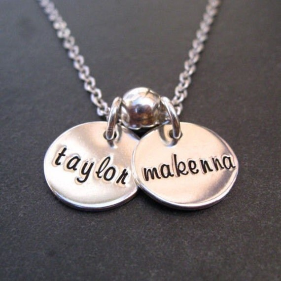 Mother's Personalized Necklace - Hand Stamped Jewelry - Sterling Silver Necklace - Custom Name Jewelry - Disc Charms