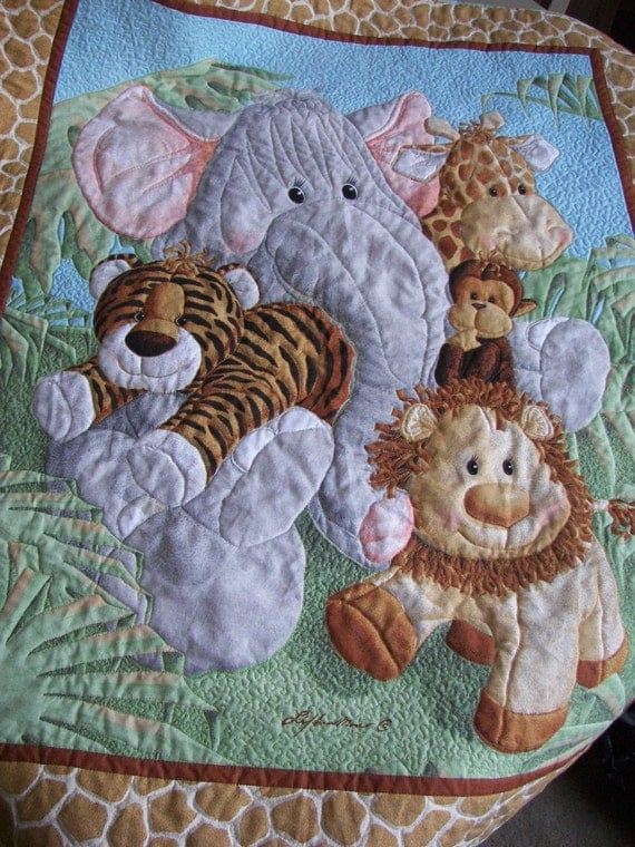 Baby Quilt Jungle Babies Animals
