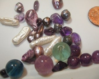 GEM BEADS Fluorite, amethyst, and pearl (32) purple, green, cream   TeamESST, OlympiaEtsy, paganteam, etsyBead, Witches of Etsy, WWWG