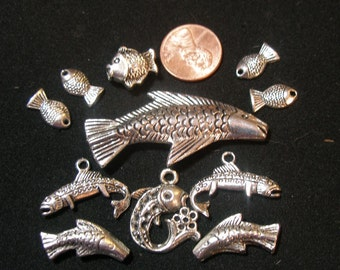 Bead,charm, pendant mix FISH (11)  Game of Thrones House Tully  TeamESST, WWWG, paganteam, OlympiaEtsy, TeamBJD