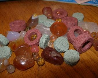 Lava, carnelian, quartz, jasper, agates  Semiprecious stone beads (15) - random assortment 4 -    paganteam, TeamESST, OlympiaEtsyTeam, WWWG