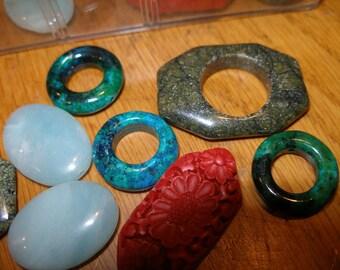Semiprecious gemstone beads - green serpentine, chrysacolla, amazonite, cinnabar - you choose 4 - TeamESST,  etsyBead, OlympiaEtsyTeam