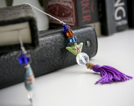 Home decor Unique accent - Beaded book thong - decorative bookmark with cloisonne and purple tassel