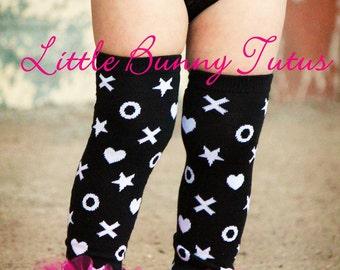 """Valentines ruffle tutu leg warmers - XOXO Girls ruffle tutu leg warmers - Perfect for Valentines photos - Fits girls size 6m & up 12"""" long"""