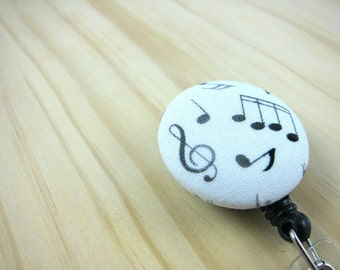 Retractable Badge Holder ID Badge Reel (Clip-on) -  Music Notes