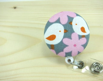 Badge Reel Badge Holder Retractable ID Badge Holder - Two Cute Birds