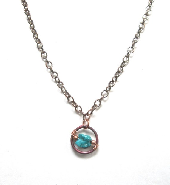 Turquoise Gemstone Pendant Necklace Oxidized Copper Chain