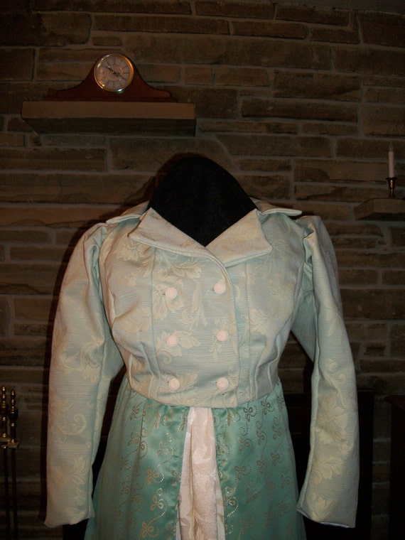 Custom made Regency Era Jane Austen 3 pc gown Spencer jacket and bonnet ensemble