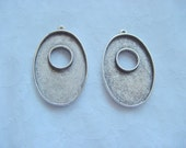 3 Pendant Trays Extra Large Oval  Silver Plated Pewter Toggle  (No. ND188)