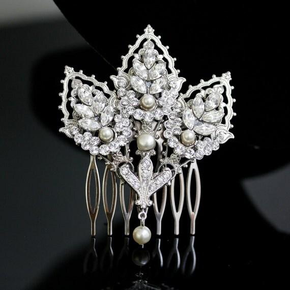 Wedding Comb Decorative Hair Comb Mantilla Comb Bridal Hair Accessory Silver Filigree Headpiece  URSULA DLX