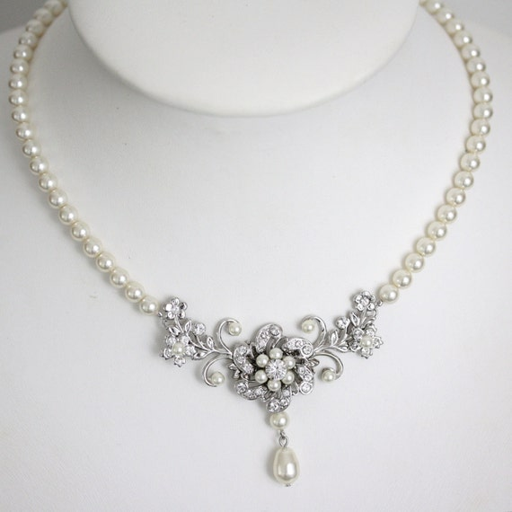 Wedding Jewelry Ivory Pearl Necklace Vintage Bridal Necklace Swarovski Rhinestone Flower