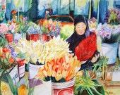 Flower Vendor at Pike Place Market Seattle Washington