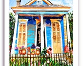 "New Orleans French Quarter Shotgun House Art 11x14"" or 13x19"" Print Signed and Numbered Buy Any Two Get One Free"