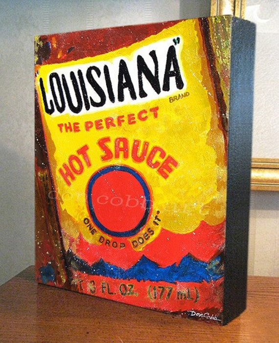 "Kitchen Decor ""Louisiana Hot Sauce"" Art 8x10x1.5"" and 11x14x1.5"" Gallery Wrap Canvas Print"