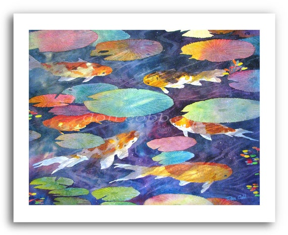 """Koi Fish Pond Art 11x14"""" or 13x19"""" Print Signed and Numbered"""